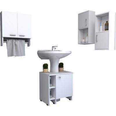 Set botiquín + mueble optimizador + 2 muebles auxiliares blanco