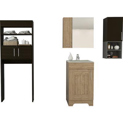 Set botiquín + mueble lavamanos + mueble auxiliar + mueble optimizador miel/wengue