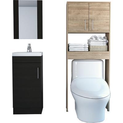 Set mueble lavamanos + espejo + mueble optimizador miel/wengue