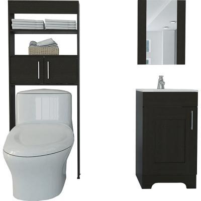Set mueble lavamano + espejo + mueble optimizador  wengue