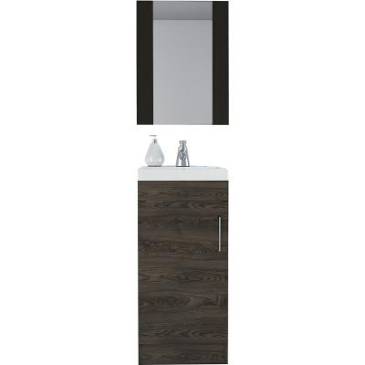 Set mueble lavamano + espejo wengue/coñac