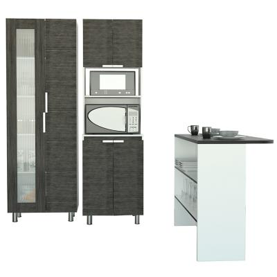 Set despensa + mueble microondas + isla de cocina rovere/wengue/blanco