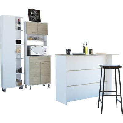 Set mueble microondas + isla de cocina+ estante rovere/blanco