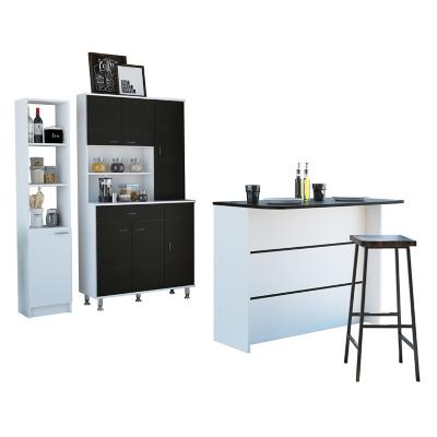 Set mueble microondas + isla de cocina+ estante wengue/blanco