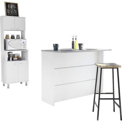 Set mueble microondas + isla de cocina blanco
