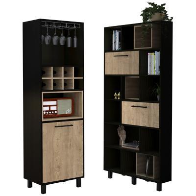 Set estante + bar  wengue/miel