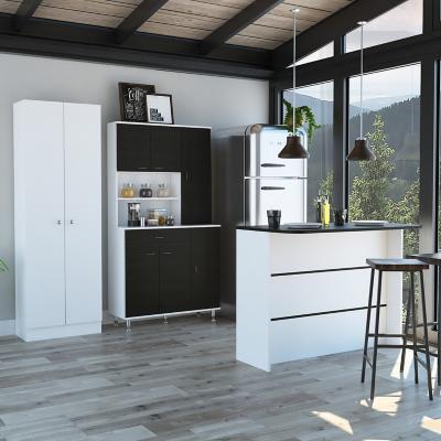 Set mueble microondas + isla de cocina + estante wengue/blanco