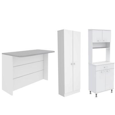 Set mueble microondas + isla de cocina + estante blanco
