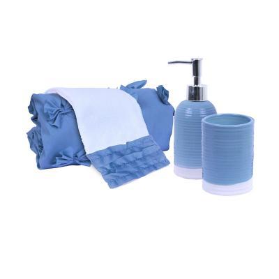Set cortina con aplicaciones 4 piezas poliéster 180x180 cm azul