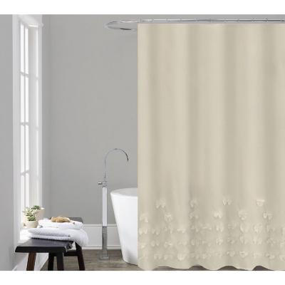 Set cortina con aplicaciones 4 piezas poliéster 180x180 cm beige