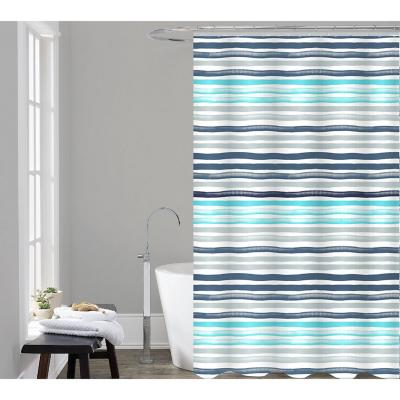 Set cortina 3 piezas poliéster 180x200 cm Blue lines multicolor