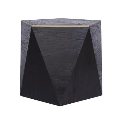 Mesa lateral geométrica negro 50x60x60 cm