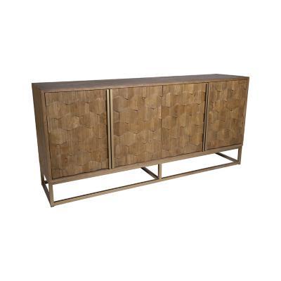 Buffet de madera y acero gris 90x195x48 cm