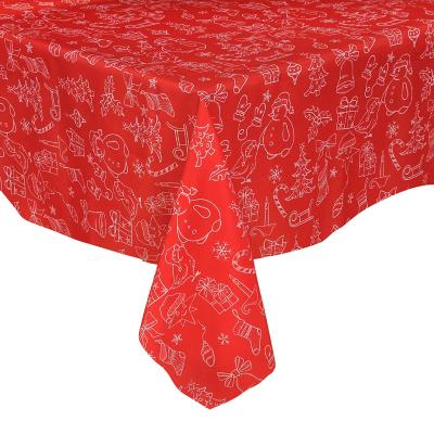 Mantel 180 cm rojo redondo poliéster