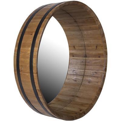 Espejo redondo madera 90x90x22 cm