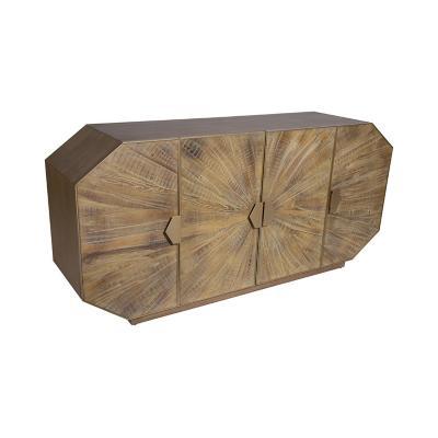 Buffet de madera y acero café 85x180x45 cm