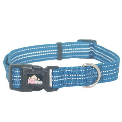 Collar nylon reflectante talla l azul