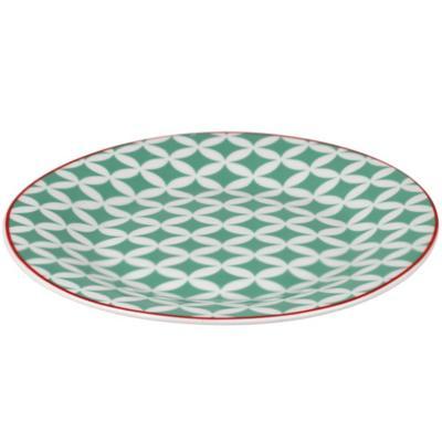 Plato ensalada geometrico turquesa