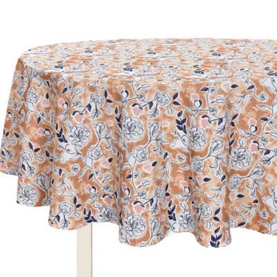 Mantel redondo 180 cm flores mostaza