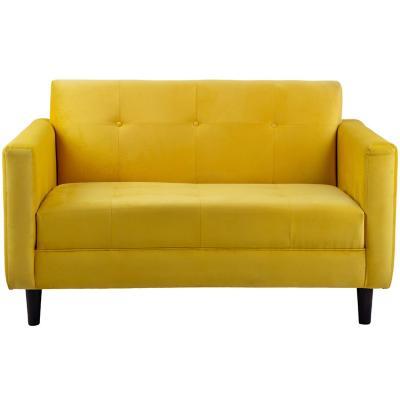 Sofá 2 cuerpos 120x75x80 cm amarillo