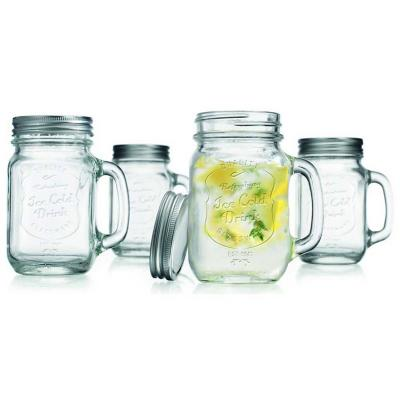 Set 4 vasos vidrio con tapa diseño ice cold 470ml