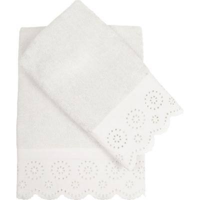Set 2 toallas broderie 360 gramos blanco