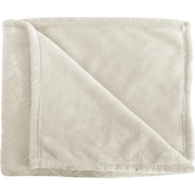 Frazada rectángulos blanca 2 plazas