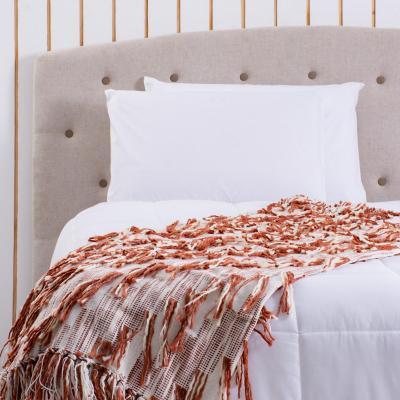 Manta flecos terracota 130x160cm beige