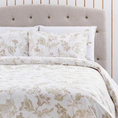 Funda de plumón flores beige/blanca king