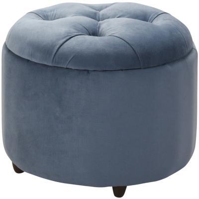 Pouf con baúl redondo 50x60x60 cm gris