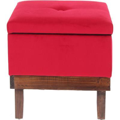 Pouf con baúl 45x45x46 cm rojo