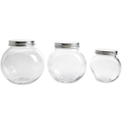 Frasco vidrio 1,8 lt redondo tapa silver
