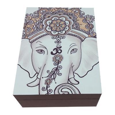 Caja decorativa ganesh café 20x15x8 cm