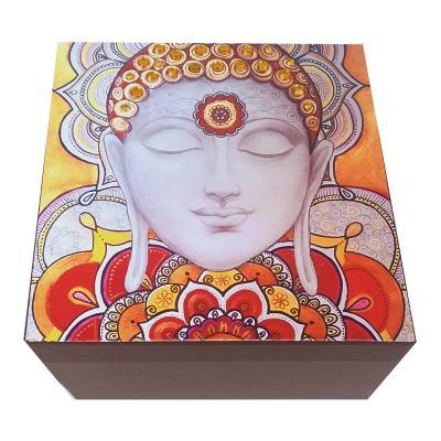 Caja decorativa buda café 15x10x15 cm