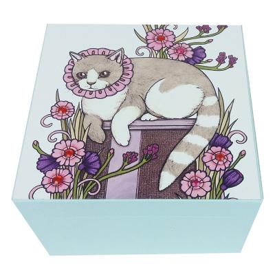 Caja decorativa gato celeste 15x10x15 cm