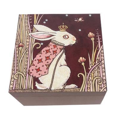 Caja decorativa conejo café 15x15x10 cm