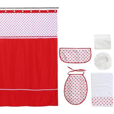 Set baño 7 piezas 180x180 cm círculos rojos