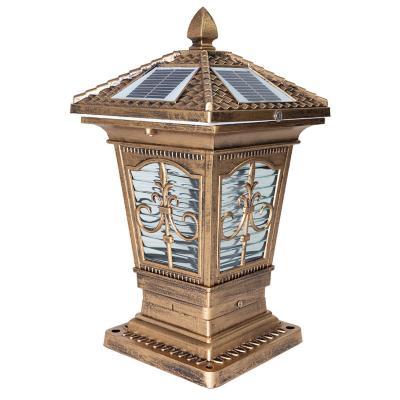 Farol solar led para pilar bronce