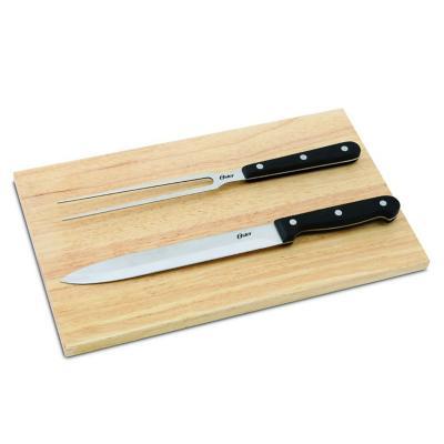 Juego parrilla con pincho, cuchillo y tabla madera
