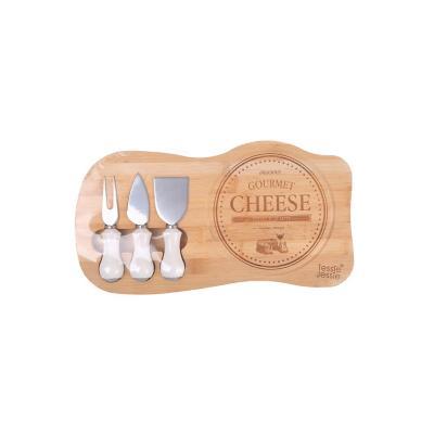 Tabla madera cocktail 3 accesorios cerámica blanco