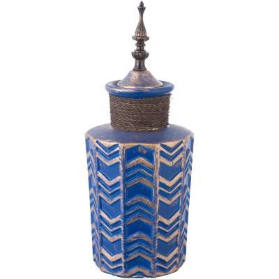 Ánfora cerámica 36 cm azul dorado