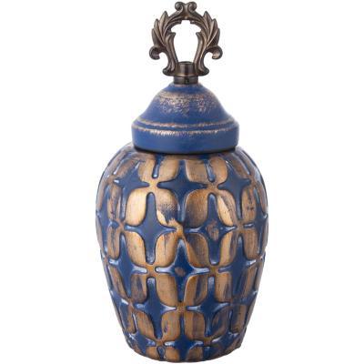 Ánfora cerámica 26 cm azul dorado
