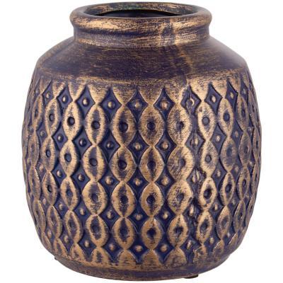 Botella cerámica 17 cm azul dorado