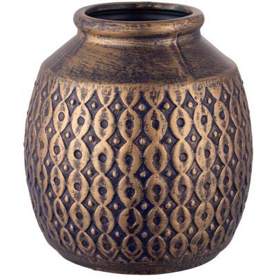 Botella cerámica 22 cm azul dorado