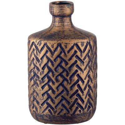 Botella cerámica 25 cm azul dorado