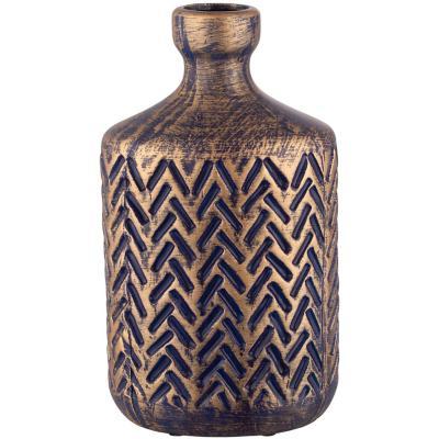 Botella cerámica 30 cm azul dorado