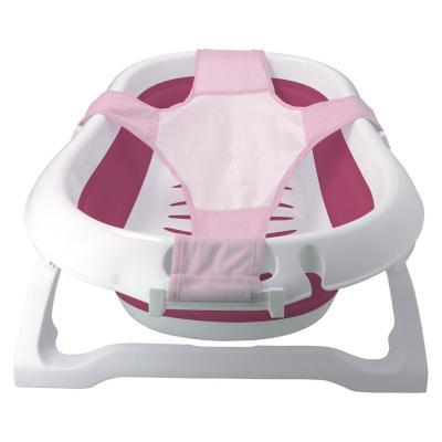 Bañera plegable con malla de seguridad rosada