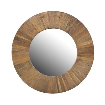 Espejo redondo madera olmo natural 90 cm