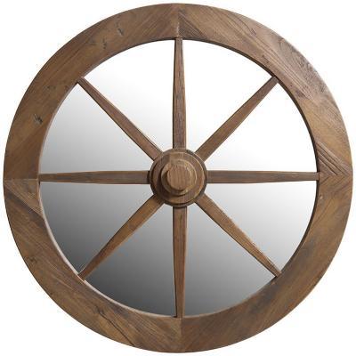 Espejo redondo estilo rueda madera 90 cm