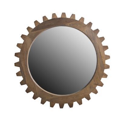 Espejo redondo estilo tuerca madera 99 cm